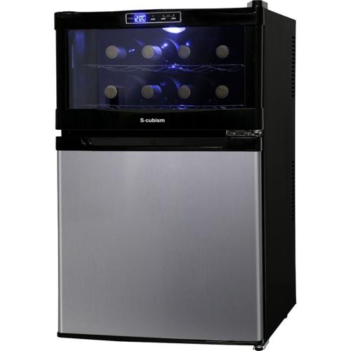 【設置】エスキュービズム SCW-208S 8本用ワインクーラー一体型冷蔵庫 右開き ワインクーラー23L・冷蔵庫45L