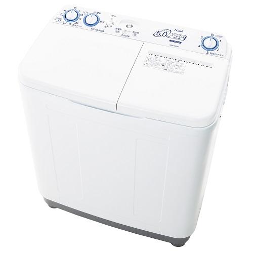 【設置+長期保証】アクア AQW-N60-W(ホワイト) 2槽式洗濯機 洗濯6kg/脱水6kg