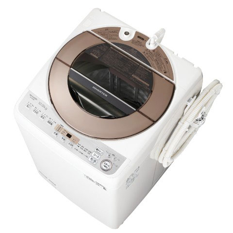 【長期保証付】シャープ ES-GV10D-T(ブラウン) 全自動洗濯機 上開き 洗濯10kg
