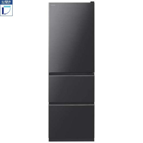 【標準設置料金込】【送料無料】日立 R-V38KVL-K(ブリリアントブラック) 3ドア冷蔵庫 左開き 375L[代引・リボ・分割・ボーナス払い不可]