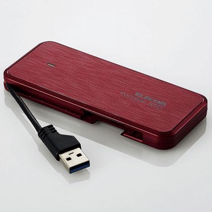エレコム ESD-EC0480GRD(レッド) ケーブル収納型外付けポータブルSSD 480GB