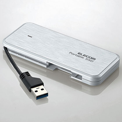 エレコム ESD-EC0480GWH(ホワイト) ケーブル収納型外付けポータブルSSD 480GB