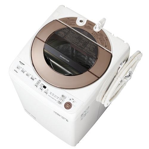 【設置】シャープ ES-GV10E-T(ブラウン系) 全自動洗濯機 上開き 洗濯10kg
