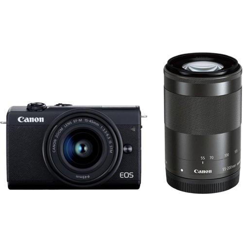 【長期保証付】CANON EOS M200 ダブルズームキット ブラック