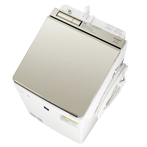 【標準設置料金込】【送料無料】シャープ ES-PW8D-N(ゴールド系) タテ型洗濯乾燥機 上開き 洗濯8kg/乾燥4.5kg[代引・リボ・分割・ボーナス払い不可]