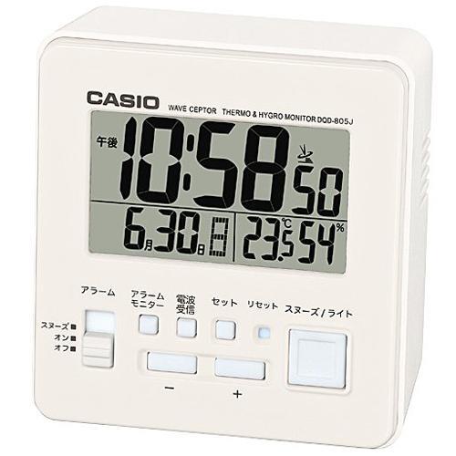 在庫あり 14時までの注文で当日出荷可能 CASIO DQD-805J-7JF 電波目覚まし時計 温湿度計付き セール商品 送料無料限定セール中 ホワイト