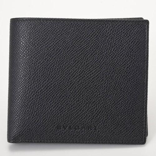 BVLGARI 20253-BK グレインレザー 二つ折り財布 ブラック