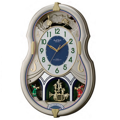 リズム時計 4MN543RH18(シャンペンゴールド/白) スモールワールドカラーズ 電波掛け時計
