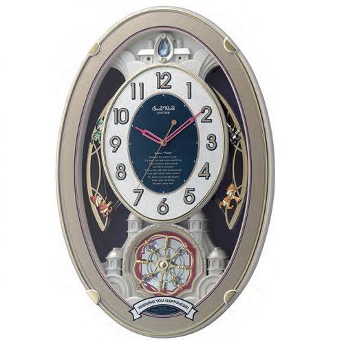 リズム時計 4MN544RH18(白パール/白) スモールワールドウィッシュ 電波掛け時計