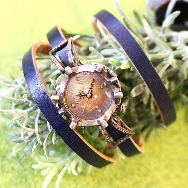 【メール便対応】『腕時計 L'sシルバー925 古美 ネイビー』オーブ/かわいい/おしゃれ/ギフト/プレゼント/童話/絵本/時計/腕時計/ウォッチ/アクセサリー/ブレス/ファッション/