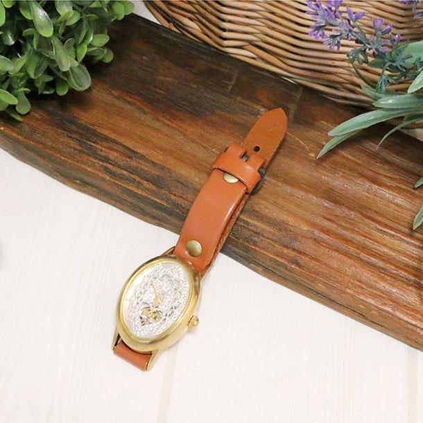 【メール便対応】『腕時計 L's真鍮 シルバー 自動巻き』オーブ/かわいい/おしゃれ/ギフト/プレゼント/童話/絵本/時計/腕時計/ウォッチ/アクセサリー/ブレス/ファッション/ユニセックス/メンズ/レディース/オーバル