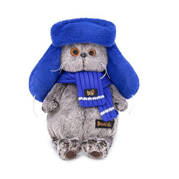 【メール便不可】『BUDI-BASA Basik ブルーのもふもふロシア帽 25cm』猫/ねこ/ネコ/ぬいぐるみ/人形/贈り物/ギフト/プレゼント/高品質/ハンドメイド/キッズ/子供/ロシア/フェイクファー/アレルゲンフリー/ふわふわ/安全/スコティッシュフォールド