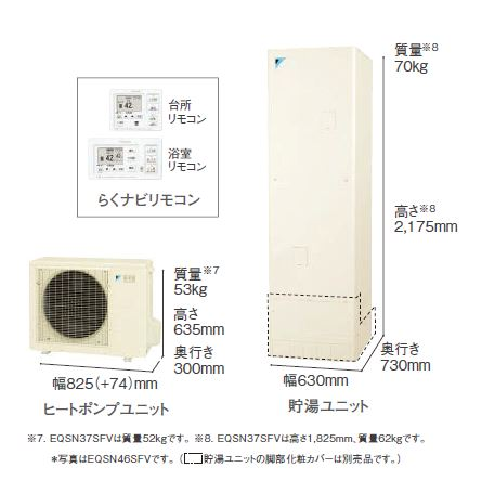 【EQSN46SFV】らくナビリモコン付 ダイキン エコキュート460Lフルオートタイプ【送料無料】キャッシュバックキャンペーン実施中 らくナビリモコンセット。