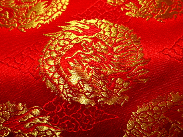 Cloud Area Gold Brocade Fabric In The Dragon Circle Red