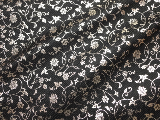 Kyoto Nishijin Brocade Fabric Sheath Type Area In Fl Design Black Silver Mekari Anese Pattern