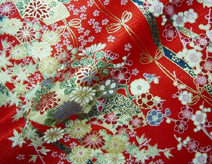 人形衣装 新着セール 着物生地 和装 毎週更新 小物 などの制作に和柄 生地 布 和柄生地 友禅 京 金彩友禅 着物生地布 和柄 和風 地紙文花づくし 10cm単位 切り売り 布地 赤 はぎれ 通販