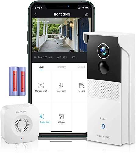 2021年版 HeimVision ワイヤレステレビドアホン 1080Pインターホン 無線WiFi 双方向通話 売り出し 動体 スマホ連動機能 暗視機能 公式ショップ 録画可能