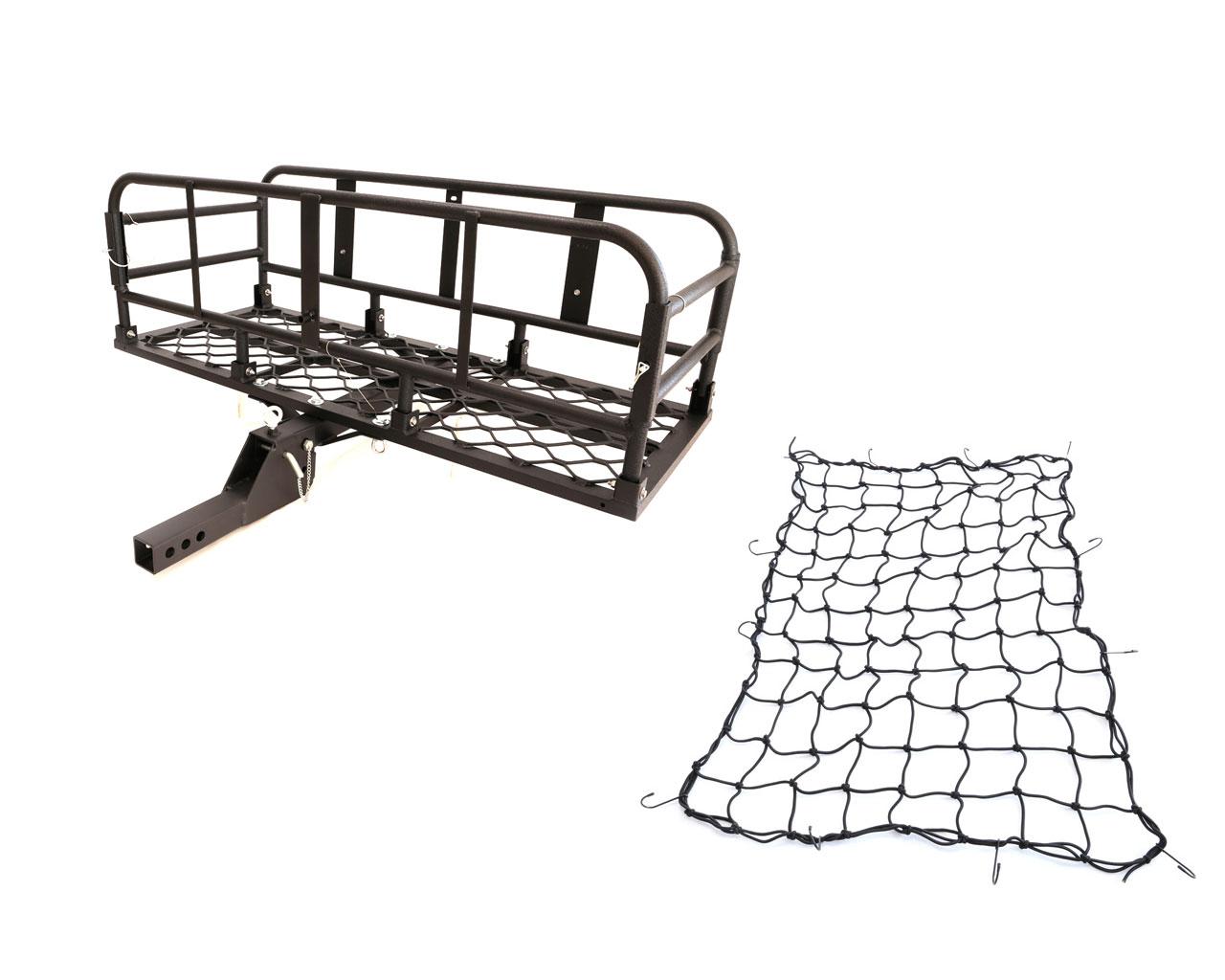 アルミ製 ブラック 折り畳み式ヒッチキャリアカーゴネット付き 軽量 C05 1200x500 組立 動画あり