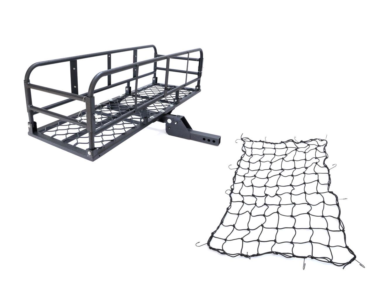 アルミ製 ブラック 折り畳み式ヒッチキャリアカーゴネット付き 軽量 C06 1500x500 組立 動画あり