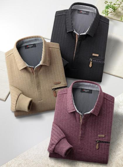 Pierucci/ピエルッチ ジップアップニットシャツ3色組 AO-0028