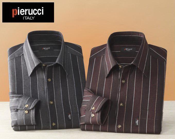 Pierucci/ピエルッチ ウール入りストライプ柄シャツ2色組 GV-017