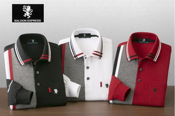 SALOON EXPRESS/サルーンエクスプレス 切替長袖ポロシャツ3色組 AS-0011