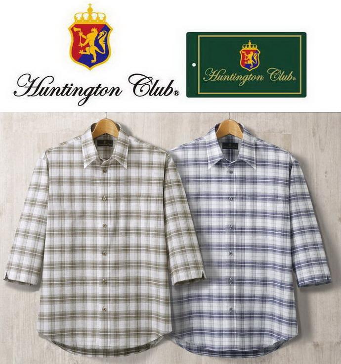 ハンティントン/HuntingtonClub しじらコードチェック柄7分袖シャツ2色組 318-1472