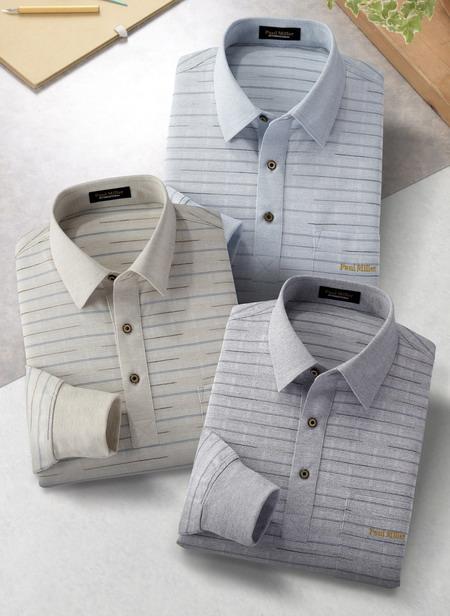 PAULMILLER/ポールミラー 先染め麻混長袖ポロシャツ3色組 377-3750