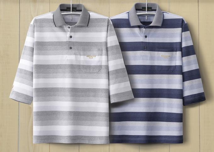 HuntingtonClub/ハンティントンクラブ  パネルボーダー7分袖ポロシャツ2色組 317-2032