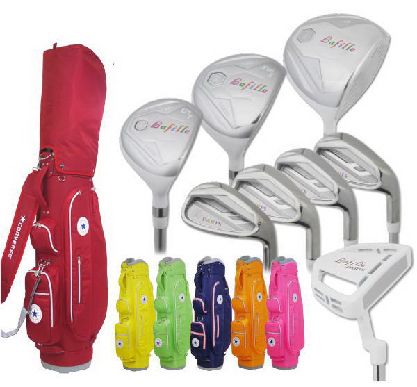 PARIS ゴルフレディースクラブセット 8本組(W1,W5,U7,#7,#9,PW,SW,PT) CONVERSEキャディバッグ付