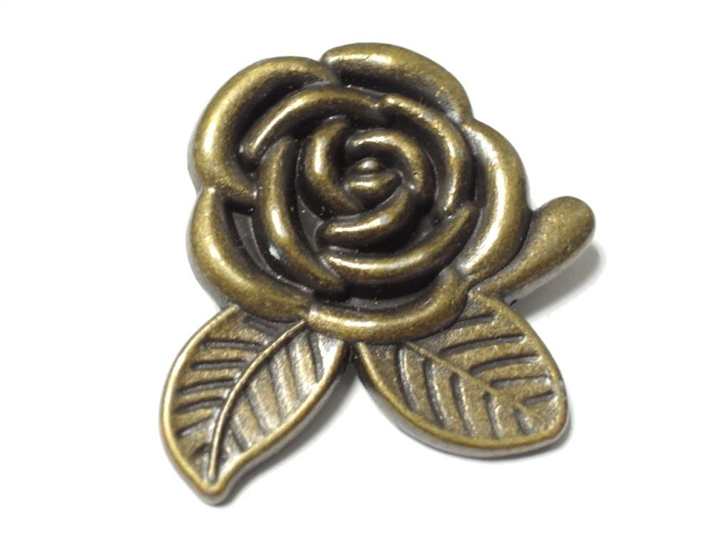 簡単取付け ネジ式飾りカシメ 薔薇 即出荷 バラ 大 革小物などの留め具に最適 直営ストア アンティークゴールド 1個入 5mm足