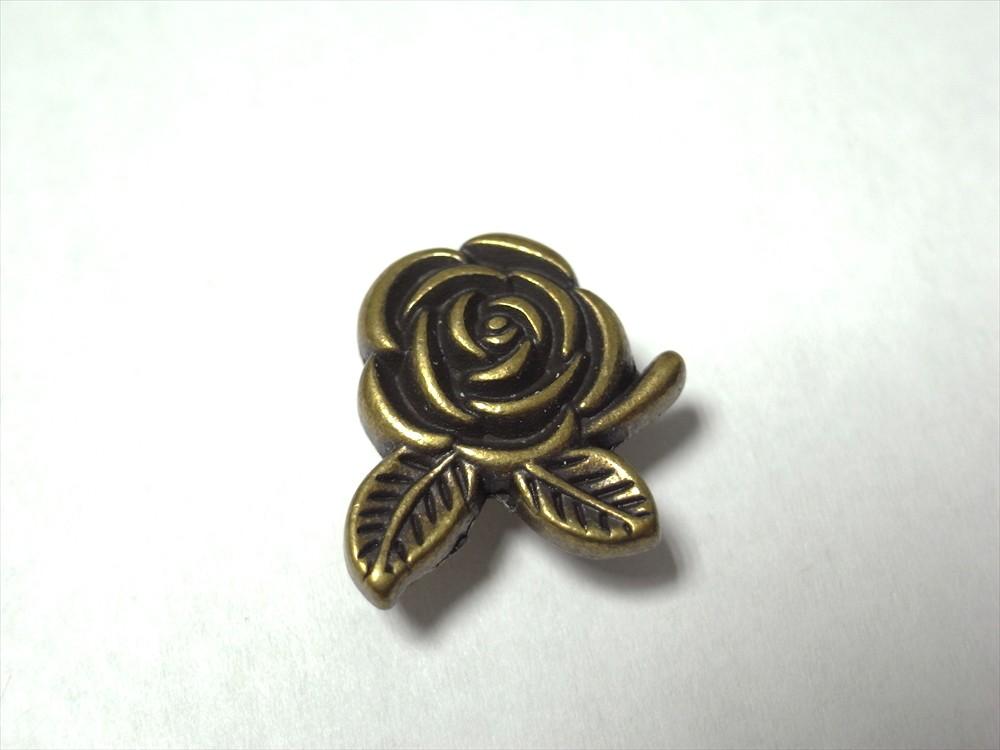 簡単取付け Seasonal Wrap入荷 ネジ式飾りカシメ 薔薇 バラ 予約販売 小 2個入 アンティークゴールド 5mm足 革小物などの留め具に最適
