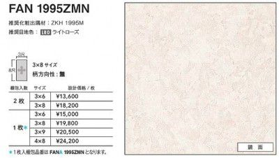 FANA1995ZMN アイカ キッチンパネル セラール 鏡面 3×8サイズ 935×2455×3mm 【代引不可】