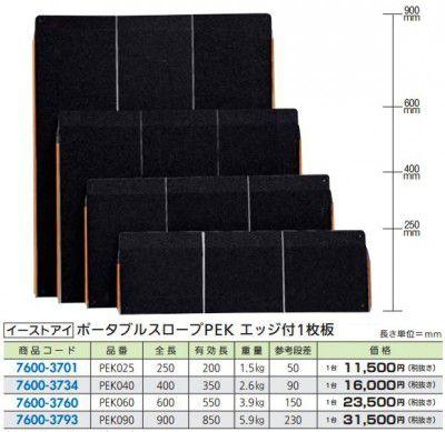 イーストアイ PEK040 FR ポータブルスロープPEK エッジ付 400mm×695mm 1枚