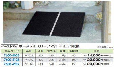 イーストアイ PVT040 FR ポータブルスロープPVT アルミ板 405mm×740mm 1枚