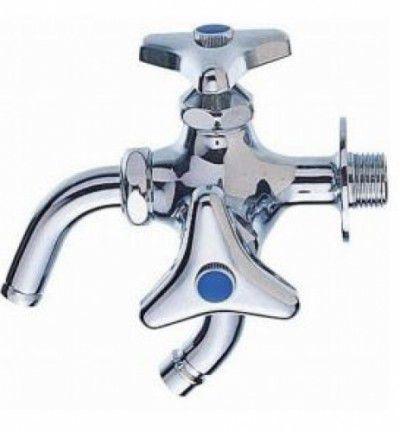 三栄水栓 F123AK-13 単水栓横水栓・ホーム水栓 洗濯機用二口横水栓 洗濯機用