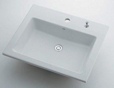 カクダイ 493-008H 角型洗面器1ホール ポップアップ独立つまみタイプ【代引不可】