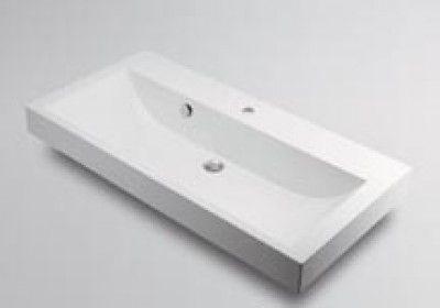 カクダイ 493-070-1000 角型洗面器1ホール【代引不可】