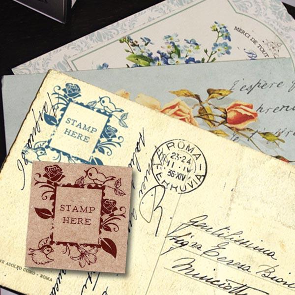 大人のスタンプ 東京アンティーク 切手の枠バラ手紙 メール便OK スタンプ はんこ 超歓迎された 人気の製品