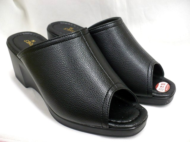 Tokyo Do Ladies Wedge Mules Shoes Puar 514 Black Rakuten Global