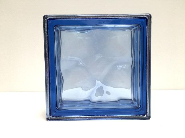 NEW!ガラスブロック【メタリックスタイル】/コバルトブルー色/100個セット商品(W190×H190×D80mm)【イタリア製ガラスブロック】