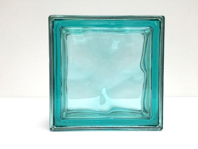 NEW!ガラスブロック【メタリックスタイル】/ターコイズ色/15個セット商品(W190×H190×D80mm)【イタリア製ガラスブロック】