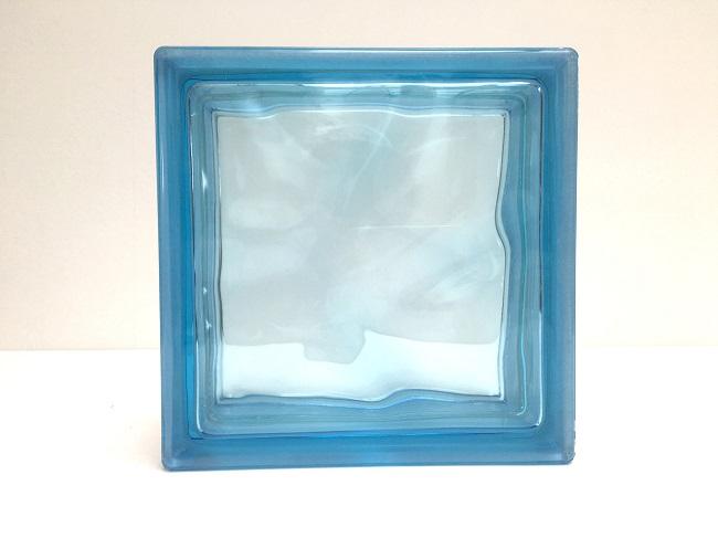新商品!ガラスブロック【クリスタルスタイル】/クリスタルマリンブルー/100個セット商品(W190×H190×D80mm)【チェコ製ガラスブロック】