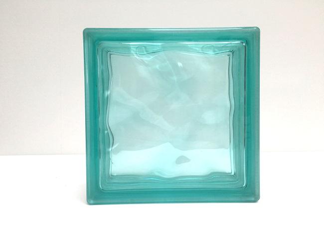 新商品!ガラスブロック【クリスタルスタイル】/クリスタルターコイズ/10個セット商品(W190×H190×D80mm)【チェコ製ガラスブロック】