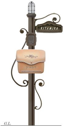 ディーズガーデン機能門柱 『シャルルポール』門柱照明付き、ポーチもしくはスタッコ、鋳物文字タイプ、インターフォンカバー付き