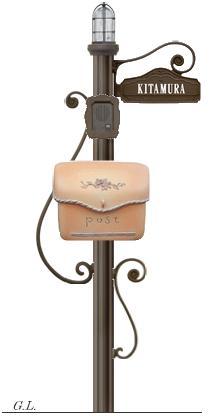 ディーズガーデン機能門柱 『シャルルポール』門柱照明付き、ポーチもしくはスタッコ、ネームシールタイプ、インターフォンカバー付き