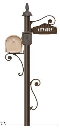 ディーズガーデン機能門柱 『シャルルポール』 門柱剣先タイプ、フローラもしくはピュール、ネームシール文字タイプ、インターフォンカバー付き