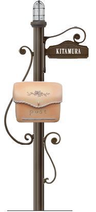ディーズガーデン機能門柱 『シャルルポール』門柱照明付き、ポーチもしくはスタッコ、ネームシールタイプ、インターフォンカバーなし、取付金具セットA付き