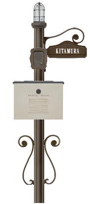 ディーズガーデン機能門柱 『シャルルポール』 門柱照明タイプ、クレアもしくはデューン、ネームシールタイプ、インターフォンカバー付き