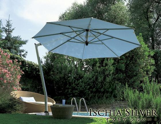 【イタリア製高級パラソル】商品名:イスキア・シルバー 280x280 【Italyモデル】パラソルベース・石盤込価格